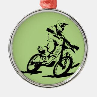 Einfaches Motorcross Fahrrad und Reiter Rundes Silberfarbenes Ornament