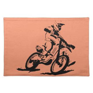 Einfaches Motorcross Fahrrad und Reiter Tischset