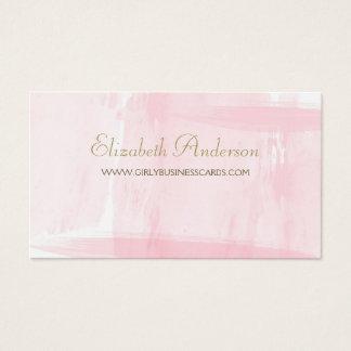 Einfaches rosa Aquarell-elegantes Goldskript Visitenkarte