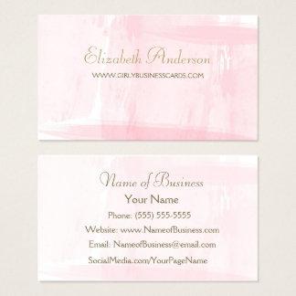 Einfaches rosa Aquarell-elegantes Goldskript Visitenkarten