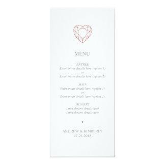 Einfaches Rosengoldherz-Hochzeitsmenü Karte