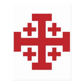 Einfaches Rot Jerusalem-Kreuzes Postkarte
