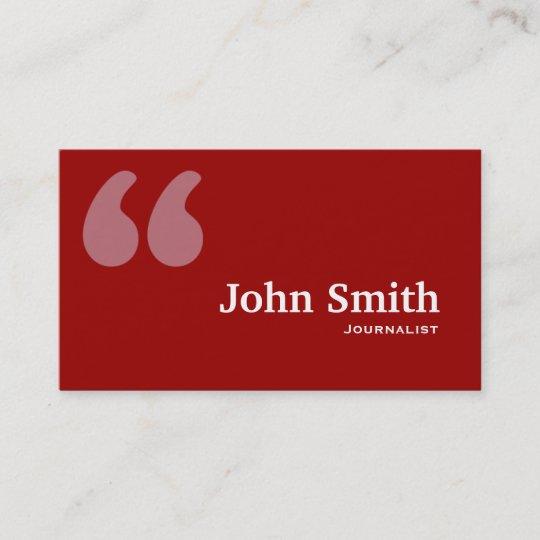 Einfaches Rot Zitiert Journalist Visitenkarte Visitenkarte