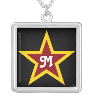 Einfaches roter u. gelber Stern-kundenspezifisches Versilberte Kette