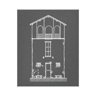 Einfaches rustikales Haus-modernes Tafel-Zeichnen Leinwanddruck