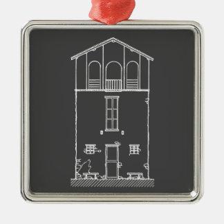 Einfaches rustikales Haus-modernes Tafel-Zeichnen Silbernes Ornament