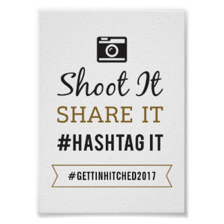 Einfaches rustikales Hochzeits-12x18 Hashtag Poster