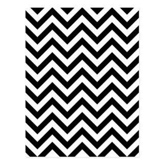 Einfaches Schwarz-weißes Zickzack Muster Postkarten