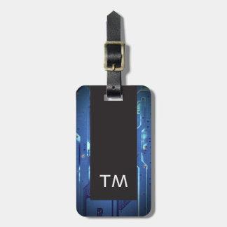 Einfaches schwarzes blaues Leiterplatte-Monogramm Kofferanhänger