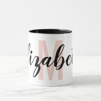 Einfaches Schwarzes erröten rosa Tasse