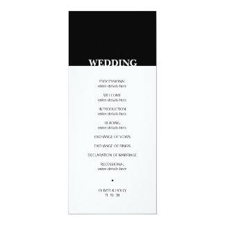 Einfaches Schwarzweiss-Hochzeitsprogramm Karte
