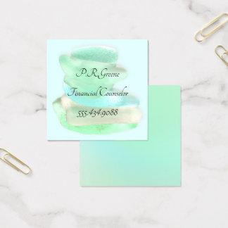 Einfaches Seegrüne quadratische GlasVisitenkarten Quadratische Visitenkarte