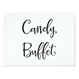 """Einfaches """"Süßigkeits-Buffet-"""" Wedding Zeichen der 16,5 X 22,2 Cm Einladungskarte"""