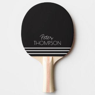 einfaches u. stilvolles Monogramm auf Schwarzem Tischtennis Schläger