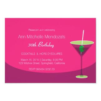 Einfaches weibliches Chic-Rosa-Cocktail-Party 12,7 X 17,8 Cm Einladungskarte