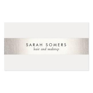 Einfaches weißes modernes IMITAT Silber Striped Visitenkarte