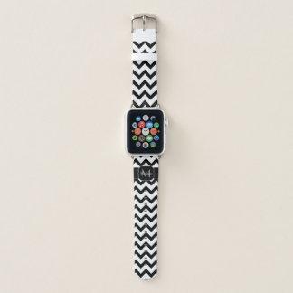 Einfaches Zickzack Muster Schwarzweiss-Monogramm Apple Watch Armband