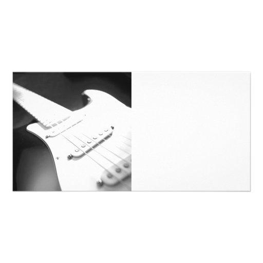 Einfarbige B&W E-Gitarren-Nahaufnahme 1 Fotokarten