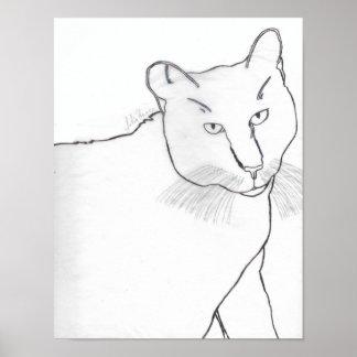 Einfarbige Irina das Katzen-Plakat Poster