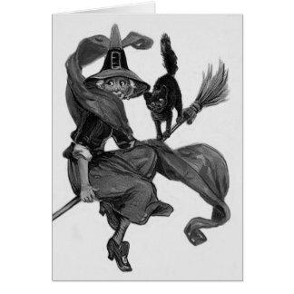 Einfarbiger Hexe-schwarze Katzen-Besen Karte