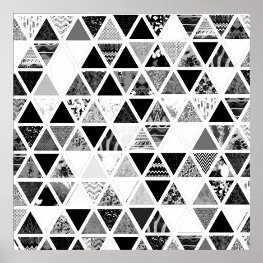 Einfarbiges abstraktes Blumendreieck-Patchwork Plakat