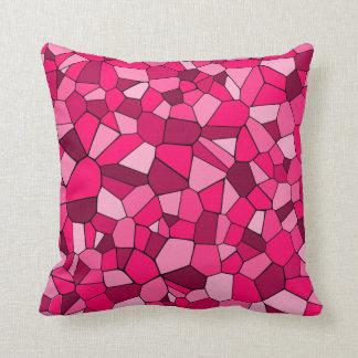 Einfarbiges rosa geometrisches Mosaik-Muster Kissen