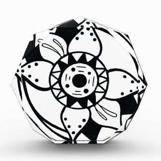 Einfarbiges Schwarzweiss-Blumen-Zeichnen Auszeichnung