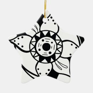 Einfarbiges Schwarzweiss-Blumen-Zeichnen Keramik Ornament