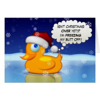 Einfrierende Sankt-Ente Grußkarte