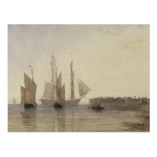 Eingang zu Calais-Hafen, 1829 (w/c, Stift u. Postkarte