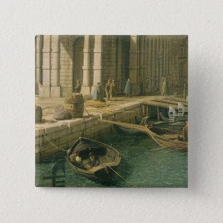 Eingang zum Canal Grande: West schauen, c.1738- Quadratischer Button 5,1 Cm