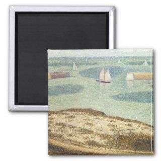 Eingang zum Hafen durch Georges Seurat, Vintage Quadratischer Magnet