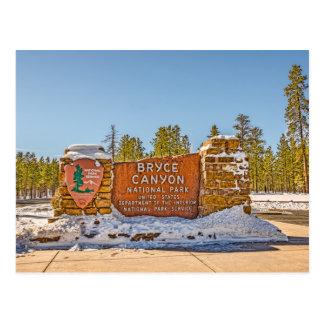 Eingangs-Zeichen für Bryce Schlucht-Nationalpark Postkarte