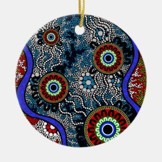 Eingeborene Kunst - Camping Rundes Keramik Ornament
