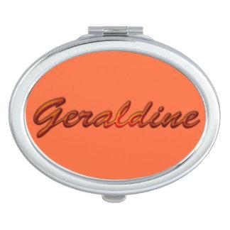 Eingebranntes Geschenk GERALDINE Name für Frauen Taschenspiegel