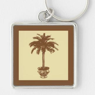 Eingemachte Palme - dunkles Braun und Tan Schlüsselanhänger