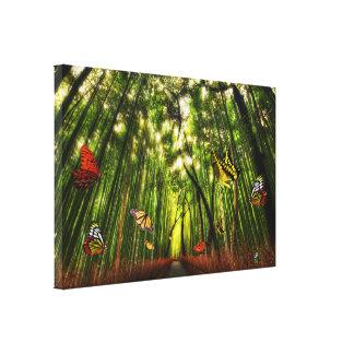 Eingewickelte Leinwand der Bambus-u. Leinwanddruck