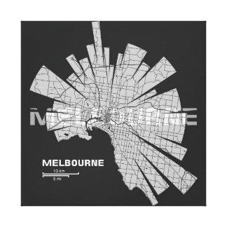 Eingewickelte Leinwand Melbournes Karte