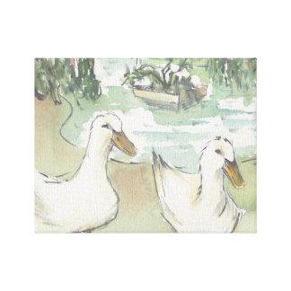 """Eingewickelte Leinwand """"Watercolor-Skizze/Enten"""