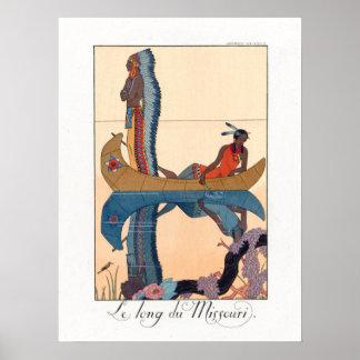 einheimische Paare in einem Kanu Poster