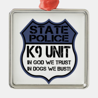 Einheit der Staats-Polizei-K9 im Gott vertrauen Silbernes Ornament