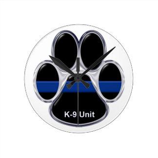 Einheit K-9 verdünnen Blue Line Runde Wanduhr
