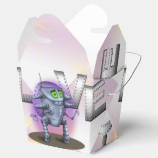 EINHEITS-ROBOTER-CARTOON nehmen Kasten heraus Geschenkschachtel