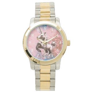 Einhorn-Armbanduhr-| verblaßtes Sorbett Uhr