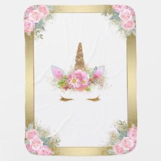 Einhorn-Baby-Decken-Rosa-Gold Puckdecke