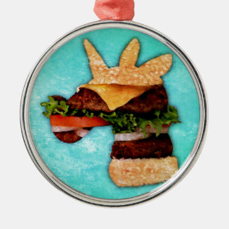Einhorn-Burger Silbernes Ornament