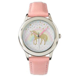 Einhorn-Edelstahl-Rosa Uhr