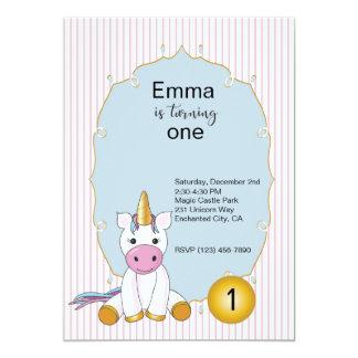 Einhorn-erste Geburtstags-Einladung Karte