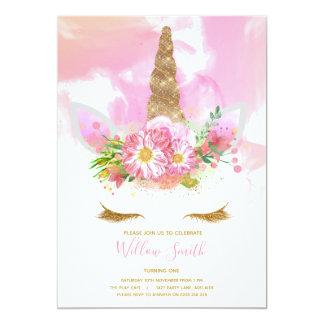 Einhorn-Gesichts-Geburtstags-Einladung Karte
