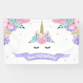 Einhorn-Gesichts-Geburtstags-Fahnen-Hintergrund Banner